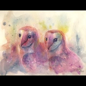 Original painting owls Owl Bird Wildlife Artwork